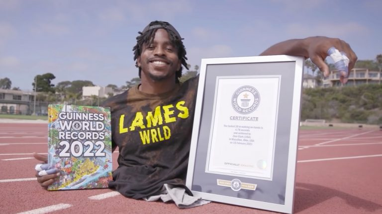 Zion Clark Sets Guinness World Record For Fastest 20m Walk On Hands – VIBE.com